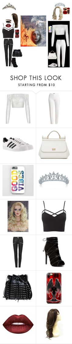 """""""Bad vs. Good"""" by evil-queen3 ❤ liked on Polyvore featuring Basler, adidas, Dolce&Gabbana, Bling Jewelry, Charlotte Russe, STELLA McCARTNEY, Casetify, Lime Crime, Max Factor and plus size clothing"""