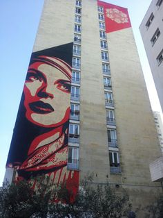 Street Art Mural by Shepard Fairey (Obey / Hope) for Itinerrance (gallery) in Paris XIIIe.