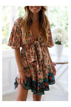 Necklines For Dresses, Dresses With Sleeves, Boho Fashion, Fashion Outfits, Boho Mini Dress, Holiday Dresses, Half Sleeves, Dresses For Sale, Sleeve Styles