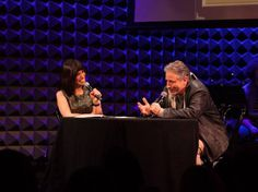 Lazarus on stage at a live taping of EOTM with Jon Stewart, shortly after he announced he was leaving The Daily Show.