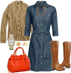 Take this chambrey shirtdress and  add bright red or white accessories and  it would rock!!! at the office...
