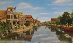 Basra, Iraq ('Iraq's Venice'), 1950s, featuring the former flag of Iraq circa 1921-1959