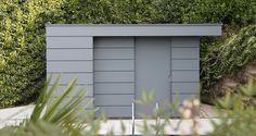 Garden shed, modern design, grey HPL planks Pool Shed, Backyard Sheds, Outdoor Sheds, Moderne Pools, Modern Shed, Garden Modern, Bike Shed, Shed Design, Patio