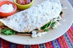 Hominy Kale Quesadilla. I've been wanting to try this for a while now. I have no idea what hominy tastes like though.