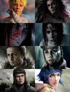 Some real faces: Naruto, Madara, Orochimaru, Sasuke, Shikaku, Yamato, Hinata (NARUTO)