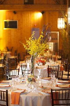This wedding reception just looks warm and cozy! See the wedding on SMP: http://www.StyleMePretty.com/little-black-book-blog/2014/02/06/rainy-day-mountain-wedding/ Photography: Brinton Studios