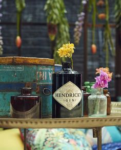 Jam jar flowers at the Matthew Williamson collaboration - The Hendrick's Horticultural Oasis 2015 at Blakes Hotel #MWblakes