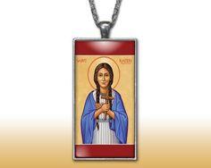 Saint Kateri Pendant Charm Necklace Custom Silver Plated Jewelry Christian Religious