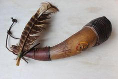 Buffalo Horn Rattle Leather Wrapped Feather Four Directions