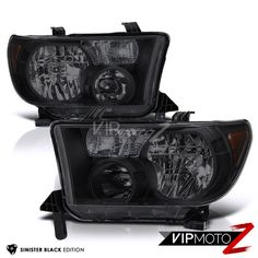 2007-2013 Toyota Tundra [ALL MODEL] Black Smoke DARK Front Headlights LEFT RIGHT #VIPMOTOZ