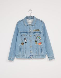 Oversize denim jacket with patches. Discover this and many more items in Bershka with new products every week