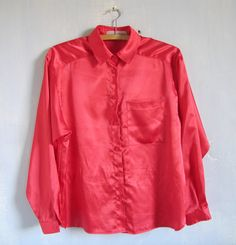 Vintage Red Blouse Red Blouse Casual Top Tomato Red Goth Blouse Red Shirt pretty blouse Hipster Blouse  Casual dress