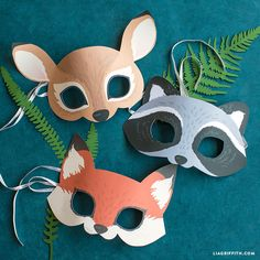 Printable woodland animal masks to channel the magic of the forest! Your kids will go wild for these cute-as-can-be paper masks. animals silly animals animal mashups animal printables majestic animals animals and pets funny hilarious animal Animal Costumes For Kids, Animal Masks For Kids, Animal Crafts For Kids, Animals For Kids, Mask For Kids, Diy For Kids, Masks Kids, Party Animals, Animal Party