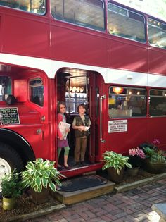 This double decker bus has been upcycled into a cool coffee shop, Asheville, NC