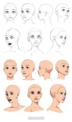 Disney style head tutorials /// http://precia-t.deviantart.com/art/Disney-style-heads-angles-467305481