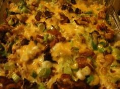 **Loaded Baked Potato and Chicken Casserole. Noreen uses the chicken ranch taco meat recipe instead and raves about it. Option: Replace hot sauce with BBQ sauce (Photo by Pink_Sylvie) Baked Potato Chicken Casserole, Loaded Baked Potatoes, Chicken Soup Recipes, Loaded Potato, Mashed Potatoes, Ranch Potatoes, Chicken Potatoes, Cheesy Potatoes, My Recipes