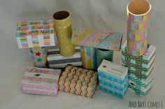 Make your own set of building blocks using recyclables and washi tape from And Next Comes L