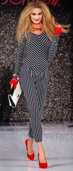 Betsey Johnson S/S 2013 black & white stripe accentuated with red