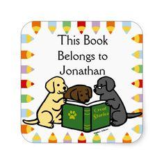 Labrador Puppies Reading Cartoon Book Label Stickers!  #labrador #labradorretriever #dog #booklabel