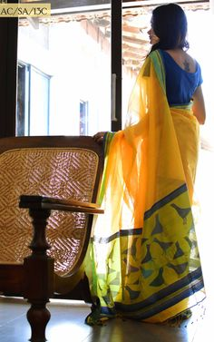 #Ethicus yellow saree, blue blouse. Organic cotton. Indian fashion.