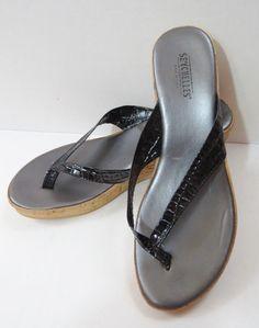 SEYCHELLES Black Patent Leather Crocodile Cork Wedge Platform Sandals Heels 6.5 #Seychelles #PlatformsWedges
