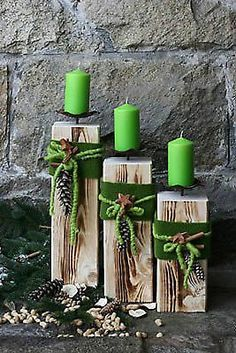 Holz Säule Kerzenständer Rustique Landhaus Kerze Dekoration Wohnen Deko Edelrost in Möbel & Wohnen, Dekoration, Sonstige Noel Christmas, Christmas Candles, Country Christmas, Christmas Ornaments, Christmas Projects, Holiday Crafts, Wooden Pillars, Navidad Diy, Deco Floral