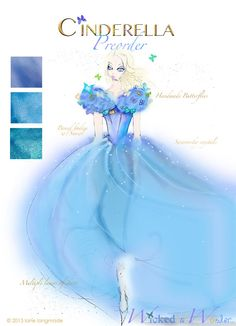 Cinderella Dress 2015 Movie conceptual costume sketch for tweens and teens by Wicked and Wonder! Beautiful...