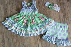Serendipity Clothing Lavender Fields Flutter Tunic & icing shortie set (style 1856)