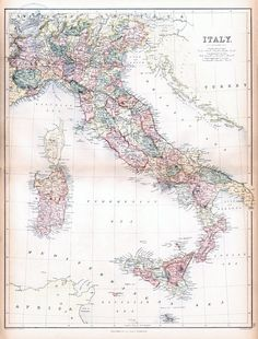 Historic Map of Italy Reproduction From 1867 World Atlas Giclee Print