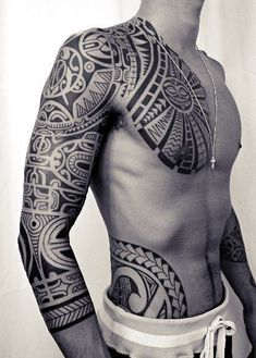 40 Meaningful Maori Tattoo Designs For Inspiration - Buzz can find Tribal tattoos and more on our Meaningful Maori Tattoo Designs For Inspiration - Buzz 2018 Maori Tattoos, Maori Tattoo Meanings, Tribal Sleeve Tattoos, Temporary Tattoo Sleeves, Tribal Tattoos For Men, Maori Tattoo Designs, Samoan Tattoo, Tattoos For Guys, Polynesian Tattoos