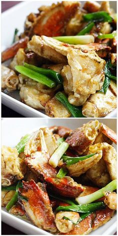 Ginger and Scallion Crab - This delicious and easy Chinese recipe makes restaurant-worthy ginger and scallion Dungeness crab at home. Chinese Crab Recipe, Asian Seafood Recipe, Easy Chinese Recipes, Shellfish Recipes, Chinese Food, Seafood Recipes, Asian Recipes, Cooking Recipes, Seafood