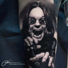 realistic ozzy osbourne tattoo black and grey Ozzy Tattoo, Fan Tattoo, Sick Tattoo, Music Tattoos, Body Art Tattoos, Cool Tattoos, Ozzy Osbourne, Rockstar Tattoo, Black And Grey Tattoos For Men
