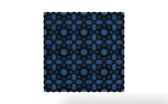 Vicoustic's Sun pattern with black frame and blue fabric.