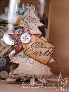 """Рождественская открытка: музыка к сведению документ дерево, """"мир на земле"""" метки, и переливаются на Jennie"""