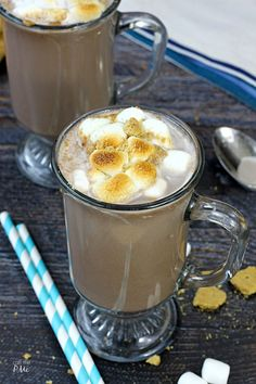 Rocky Road Hot Chocolate a campout favorite turned comfort drink! Combines your favorite chocolate and marshmallow flavors into one ready-to-serve drink