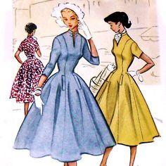 Vavoom Very Fitted Princess Seam Dress Pattern. Fit and Flare Very Full Skirt. High Stand Up Collar. 1950s Dress Patterns, Coat Patterns, Vintage Sewing Patterns, Clothing Patterns, Fit And Flare Coat, Fit N Flare Dress, Vintage Outfits, Vintage Dresses, 1950s Fashion