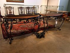 "Wrought Iron Console With Glass Case On Sale   Custom Built  52"" Wide x 16"" Deep x 47"" High   Was $500 Sale Price $195  Dealer #318  Lost. . .Antiques 1201 N. Riverfront Blvd. Dallas, TX 75207  Read more: http://dallas.ebayclassifieds.com/tables/dallas/wrought-iron-console-with-glass-case-on-sale/?ad=43938233#ixzz45O1JSxGC"