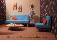 Miniature Dollhouse 1:12th Scale Mid-Century Modern Living Room - Complete set in turquoise, orange, green, and aqua