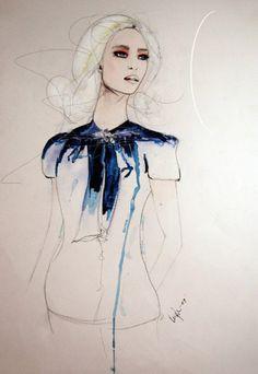 Fashion illustration - beautiful & arty, fashion drawing // Leigh Viner