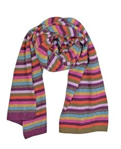 Carousel Wrap. Wide Stripey Cashmere Rich Blend Wrap in colorful tones.