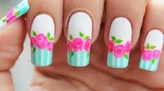 Resultado de imagen para pop art nail flores Rose Nail Art, Rose Nails, Flower Nails, My Nails, Pop Art Nails, Vintage Roses, Nails Magazine, Beauty Nails, Opi