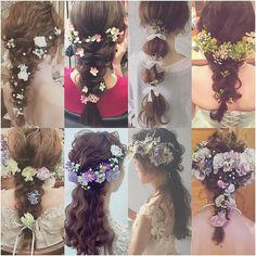 * * wedding ♡ hair * * 髪はシンプルにまとめて 生花で華やかさを 出してあります♡ * * 生花のバランスも 大切にしています♡ * * #ヘアアレンジ #ウェディング #コーデ #マリhair
