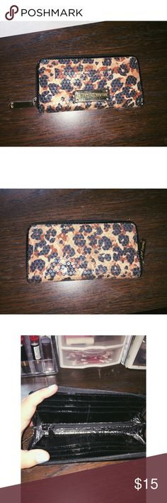 Betsey Johnson Zebra Print Wallet This does have some wear from use but it's still in great condition. Zip closure. Clear sequins all over to give it that sparkling effect. Betsey Johnson Bags Wallets