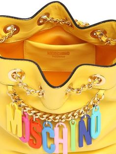 6ad60e25433c SMALL LOGO CHARMS ON LEATHER BUCKET BAG Little Bag