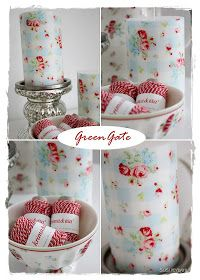 Candles covered/ decoupaged with Greengate napkins. The napkins are from the summer of 2008. This checkered napkin is called Claire Pale blue. ~ WELCOME TO INTERIOR WITH COLORS | DIY GreenGate covered candles ~!Sommerhusliv Hele Aaret: Nye lys med gammelt Greengate design.