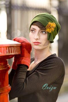 Green Gables Green 1920s Cloche Hat  - cruelty free millinery.