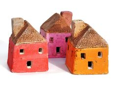 Ceramic Houses on Etsy. Want to make different houses using different clays and firing methods.