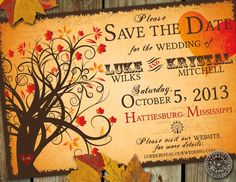 Fall Save the Date wedding Invitation with by HydraulicGraphix