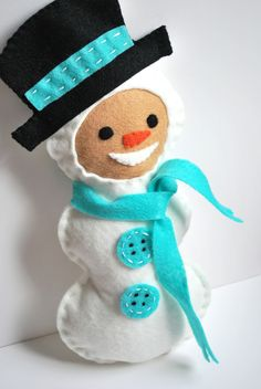 This guy is quite a fancy Snowman Plush!!  He is all set with hat and scarf– made all with felt and hand stitching this might be just the right thing for little hands to learn some stitching on too. Print … Continued