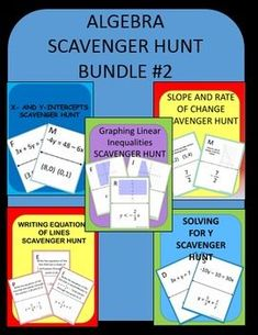 Algebra Scavenger Hunt Bundle #2: This bundle includes 5 of my algebra scavenger hunts covering various skills.  The scavenger hunts are: 1) Finding x- and y-intercepts 2) Graphing Linear Equations 3) Finding Slope and Rate of Change 4)  Solving for Y 5)  Writing Equations of Lines. All are Self-checking!